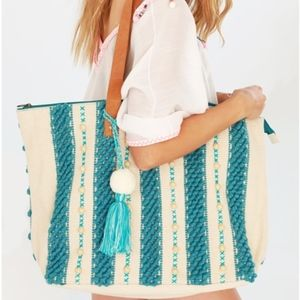 Large Pom Pom Tassel  Textured Crochet Tote